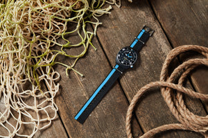 Black/Blue recycled NATO strap
