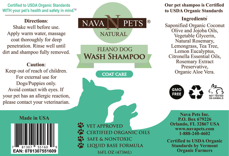 Organic FLEANO Dog Wash Shampoo - Posh Pooch Accessories