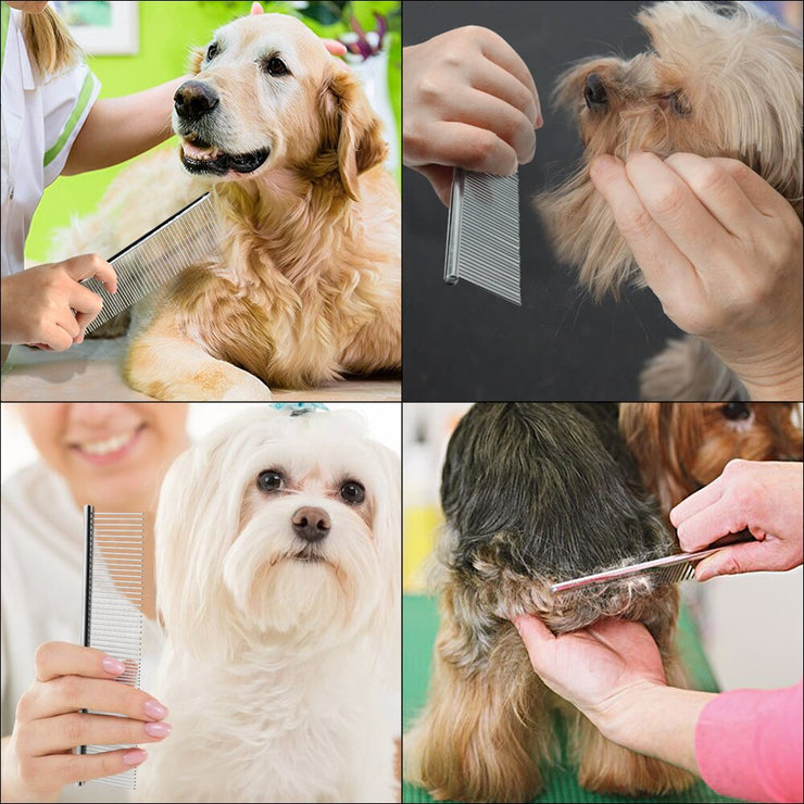 Dog Cat Grooming Comb Stainless Steel Pet Brush - Posh Pooch Accessories