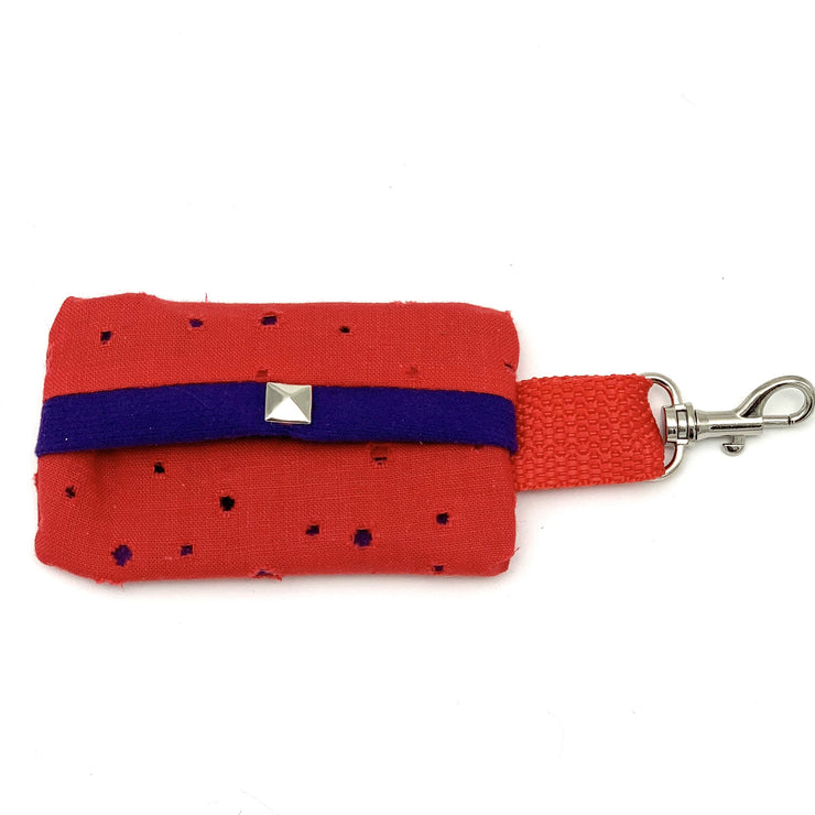 Red waste bag holder with purple suede lining - Posh Pooch Accessories
