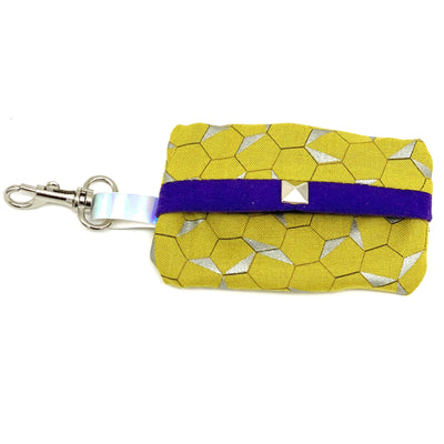 Mustard honeycomb dog waste bag holder with purple suede lining - Posh Pooch Accessories