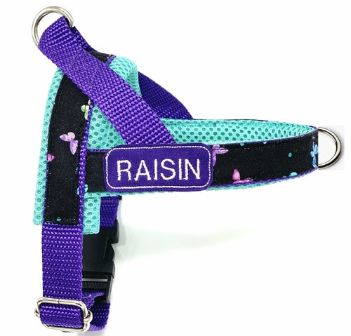 Personalized turquoise butterflies one-click harness - Posh Pooch Accessories
