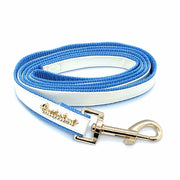 White & blue leather designer leash - Posh Pooch Accessories