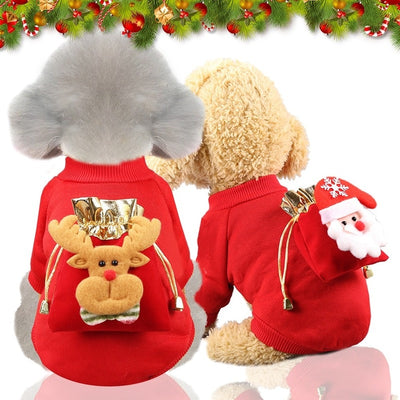 PUOUPUOU Winter Funny Dog Clothes Warm Pet Dog Jacket Christmas - Posh Pooch Accessories