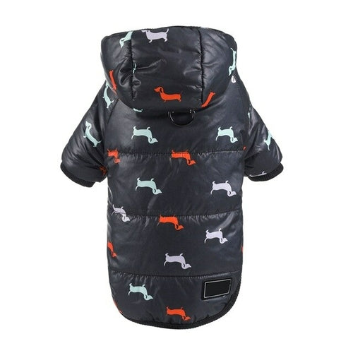 Puppy Down Jacket Printed Hoodies - Posh Pooch Accessories
