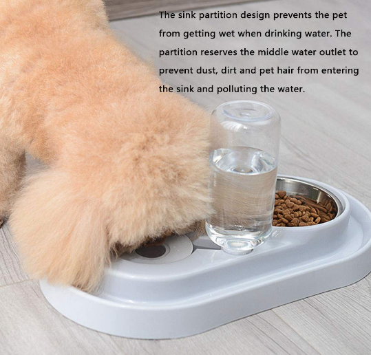 Stainless Steel Pet Bowls with Automatic Water Bottle - Posh Pooch Accessories