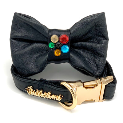 Genuine black leather crystal collar & bow tie - Posh Pooch Accessories