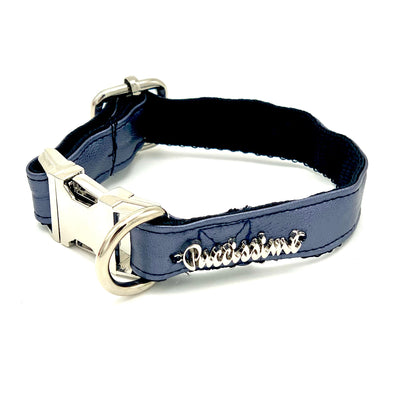 Metallic grey leather collar - Posh Pooch Accessories