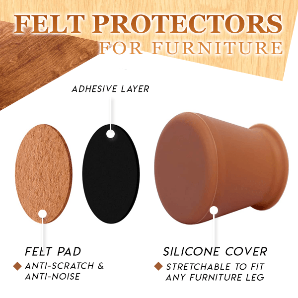 Chair & Table Legs Felt Protective Covers (Set of 32)