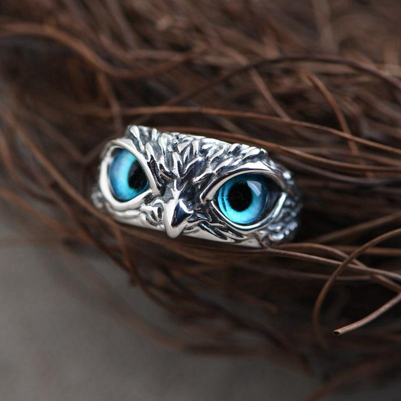 Silver Demon Eye Owl Ring