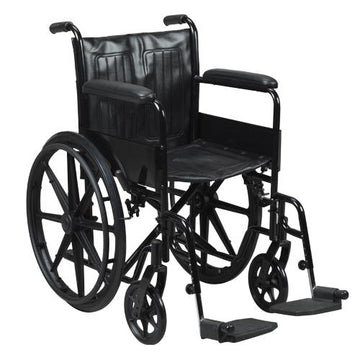 "WHEELCHAIR BLACK WITH ANTI-TIPPING DEVICE 18"" AIR 6009"