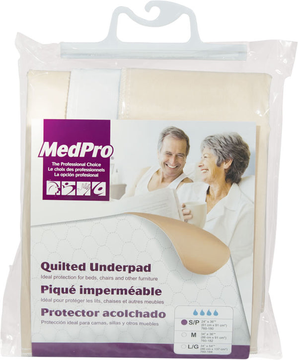 REUSABLE UNDERPAD WHITE MEDIUM 34IN X 36IN, MODERATE-HEAVY ABSORBENCY, QUILTED - ActivKare