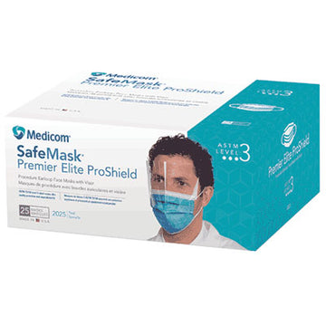 (CS/4) BX/25 EARLOOP MASK WITH SHIELD, TEAL