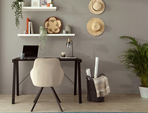 Our Cleo Swivel Chair and Cavour Desk are the perfect pairing for a comfortable home office