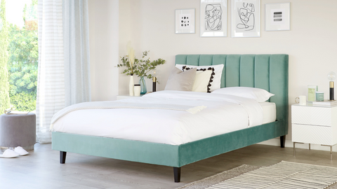 Maya Light Green Velvet King Size Bed