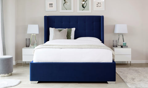 Dexter Navy Blue Velvet Super King Size Bed With Storage