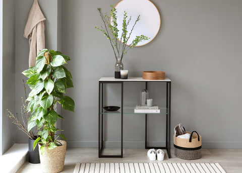 With its durable, family friendly finish and simple and compact design, the Georgia Console Table is perfect for adding a bit of style to a busy family living space (no need to worry about coasters!)
