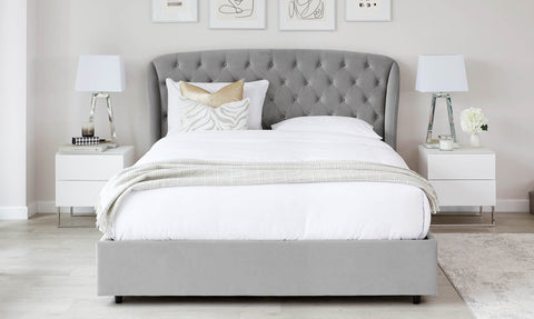 Manolo Light Grey Velvet King Size Bed With Storage