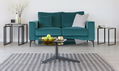 Ora Smoked Glass Curved Coffee Table