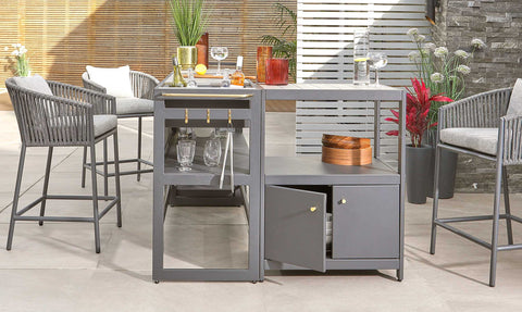 Palm Outdoor Kitchen and Bar Stool Set