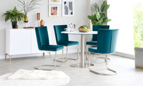 A hard wearing and scratchproof table paired with plush velvet dining chairs - the Romeo and Form set is perfect for switching from every day dining to Friday night with friends.