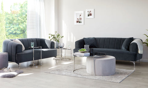 Thea Round Coffee Table And Light Grey Pouffe Set