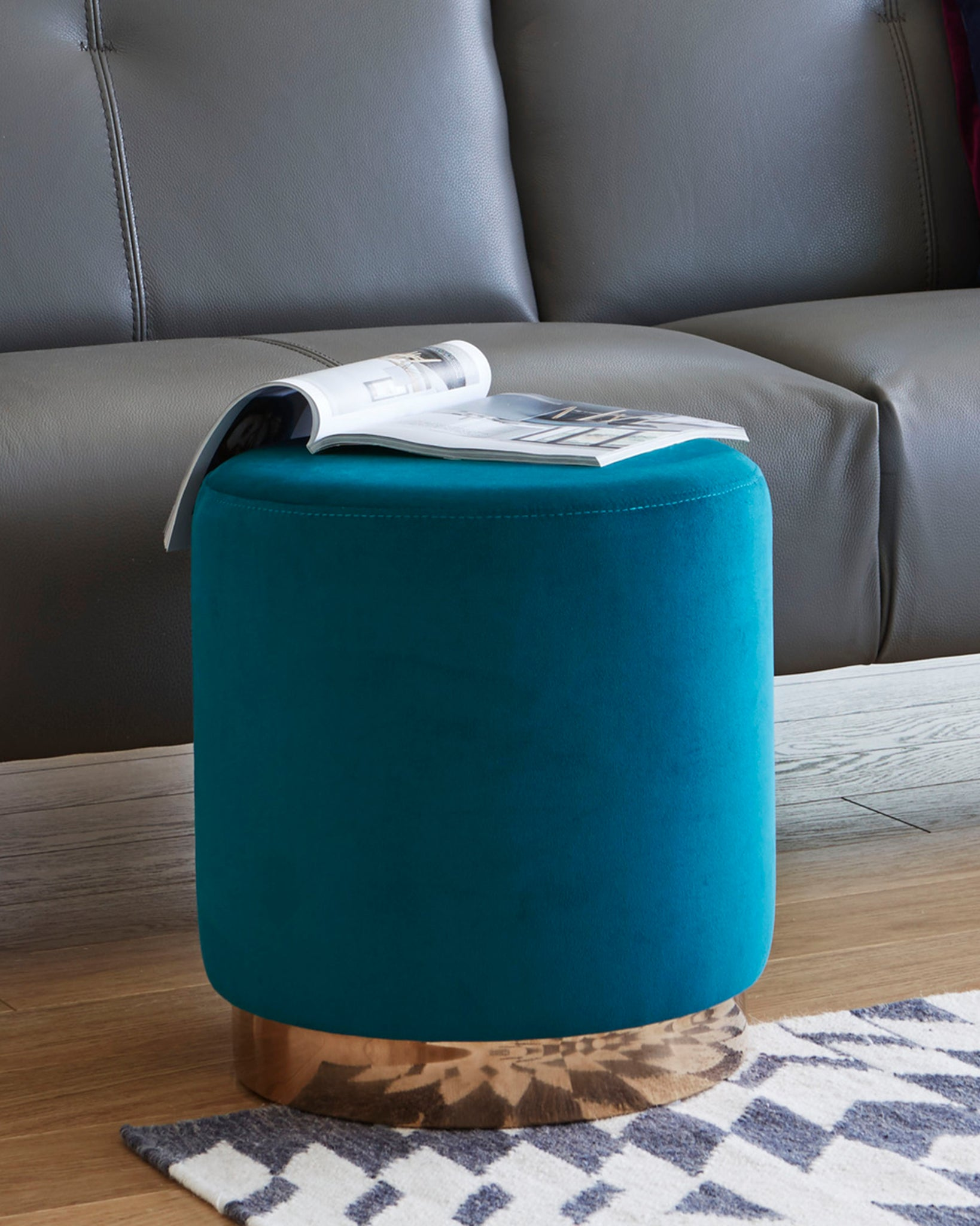 Plaza Dark Teal Velvet With Warm Brass Stool