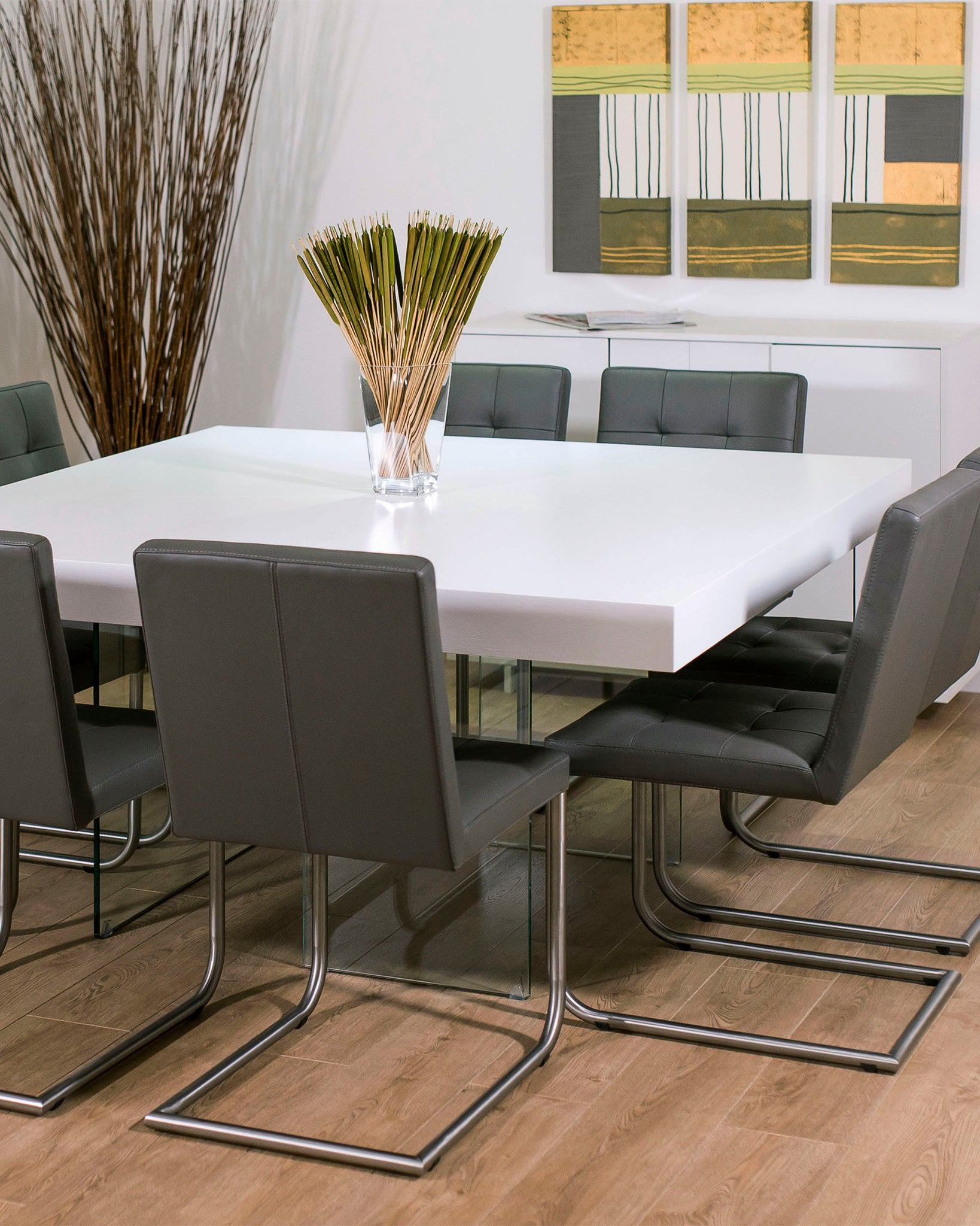 Aria White Oak Square And Danni Dining Set