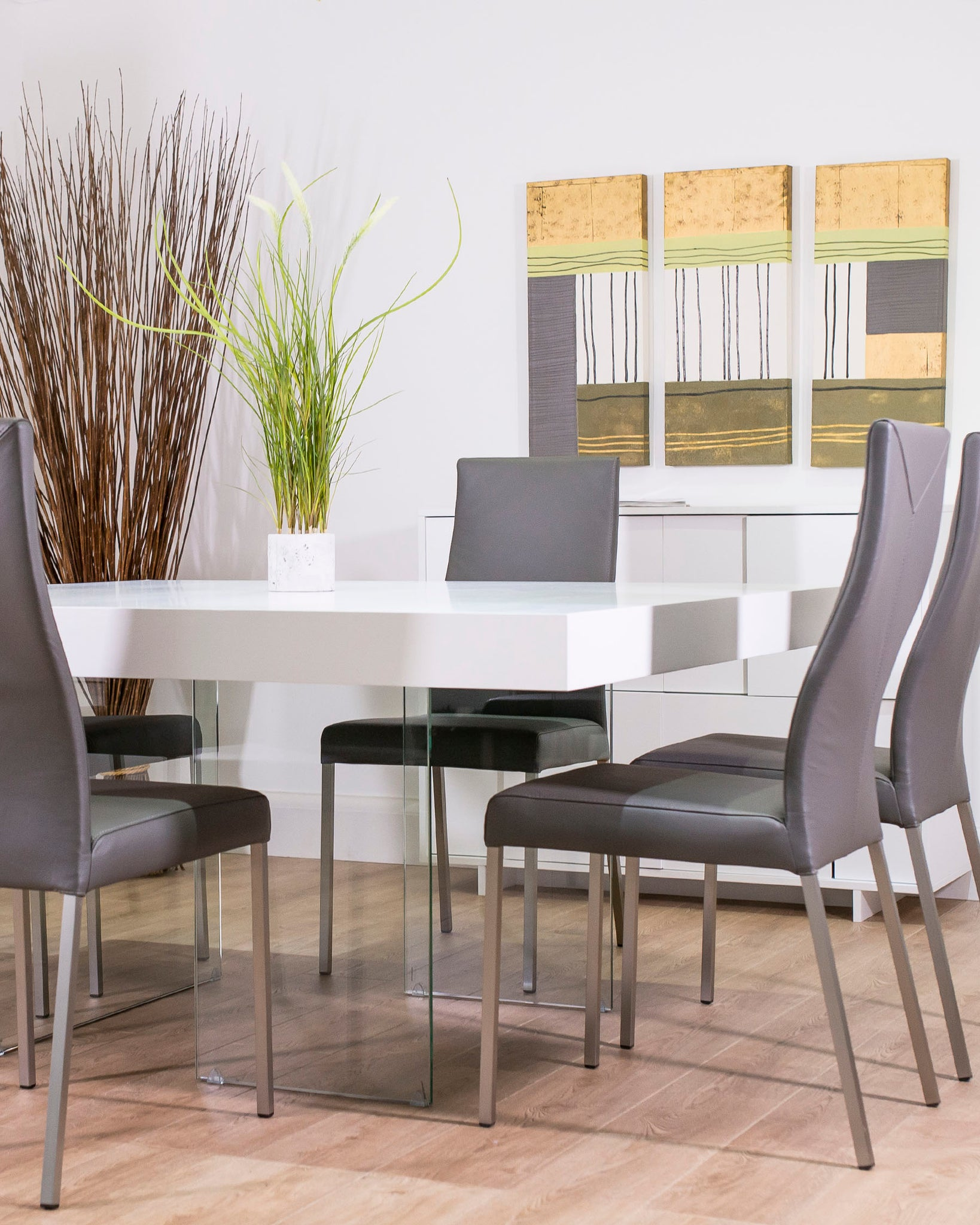 Aria White Oak Square And Iva Dining Set