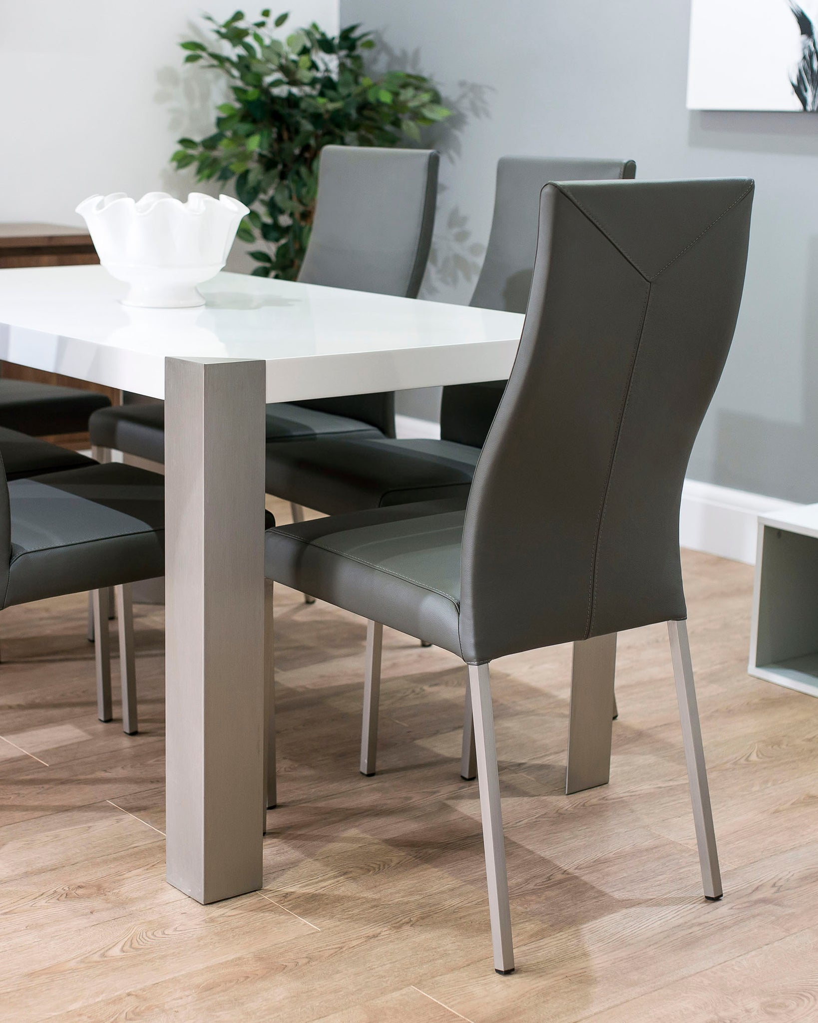Iva Real Leather Dark Grey Dining Chair - Set Of 2