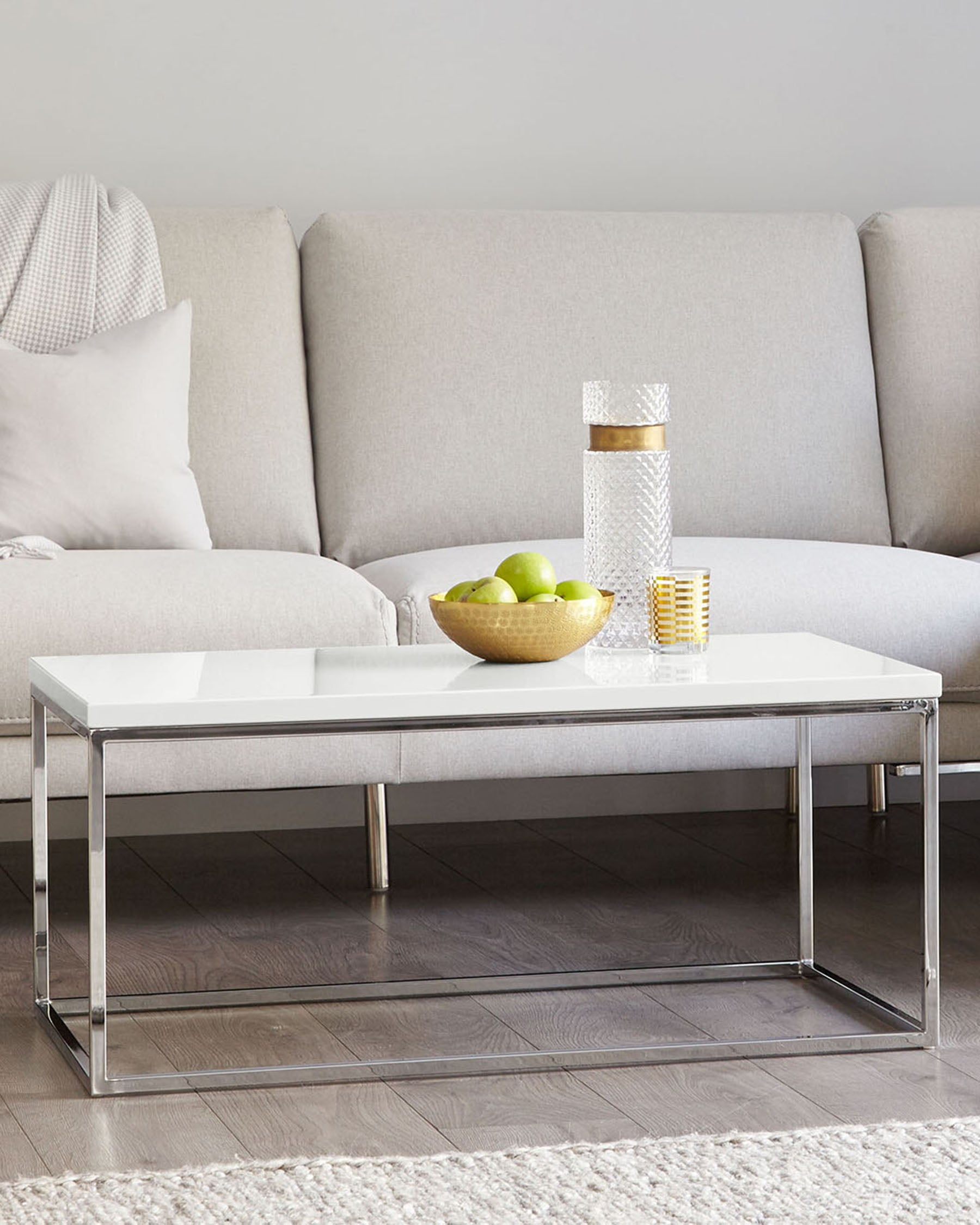 Acute Chrome And Large White Gloss Coffee Table Danetti