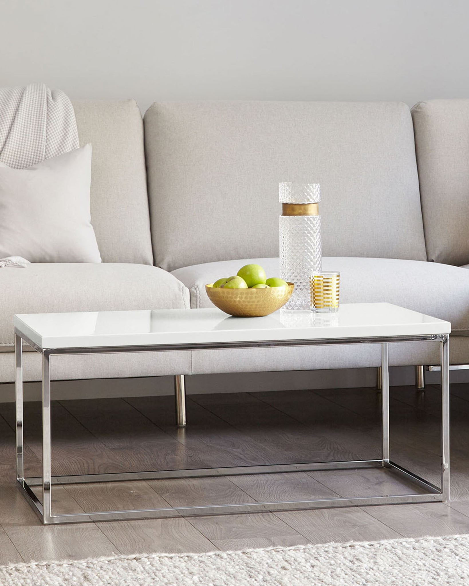 Acute Large White Gloss And Chrome Coffee Table