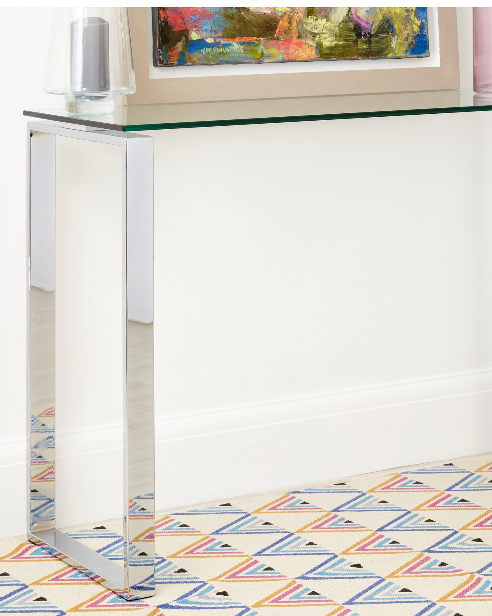Tiva Glass And Chrome Console Table