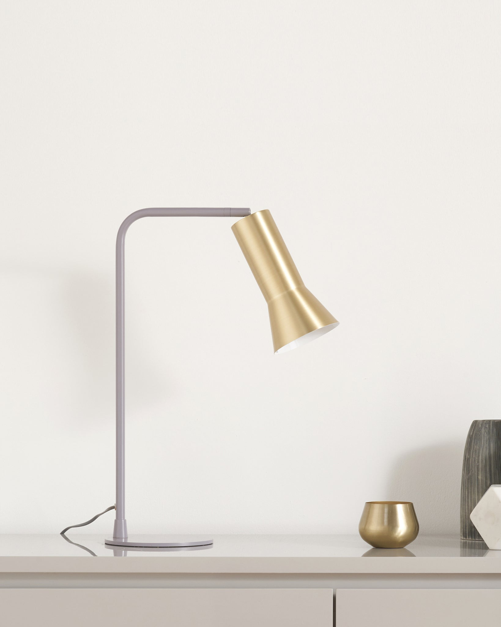 Alfie Grey And Brass Table Lamp