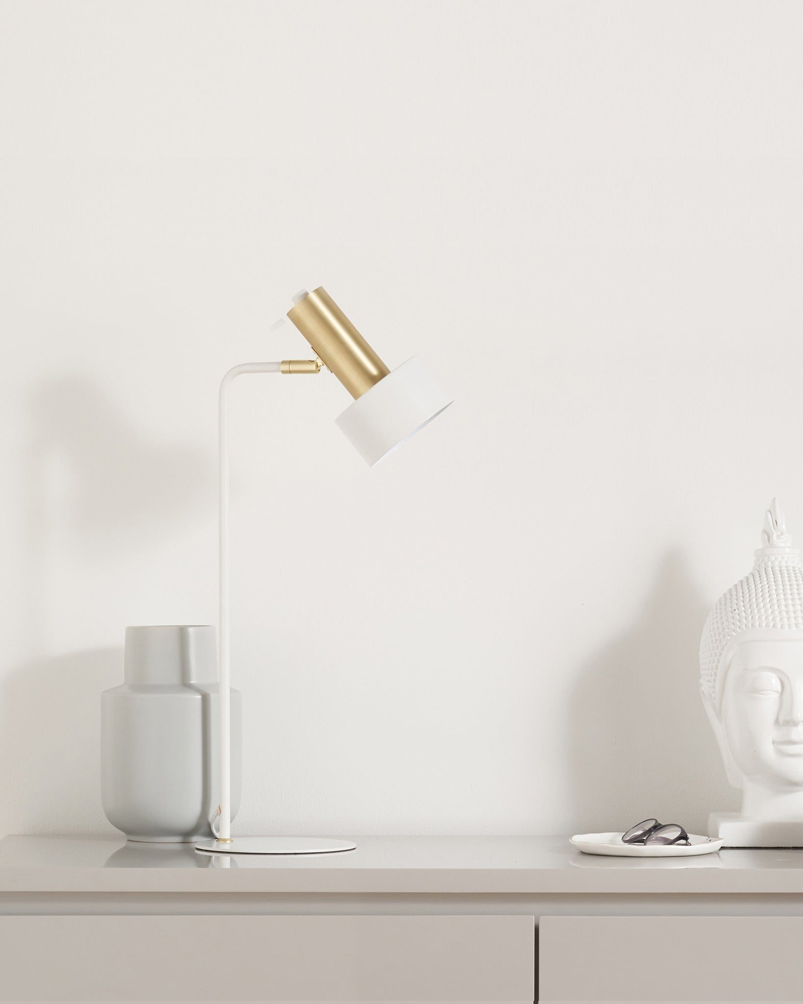 Alma White And Brass Table Lamp