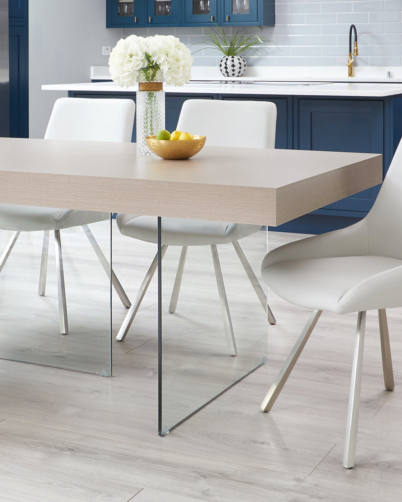 Aria Grey Oak And Glass Dining Table