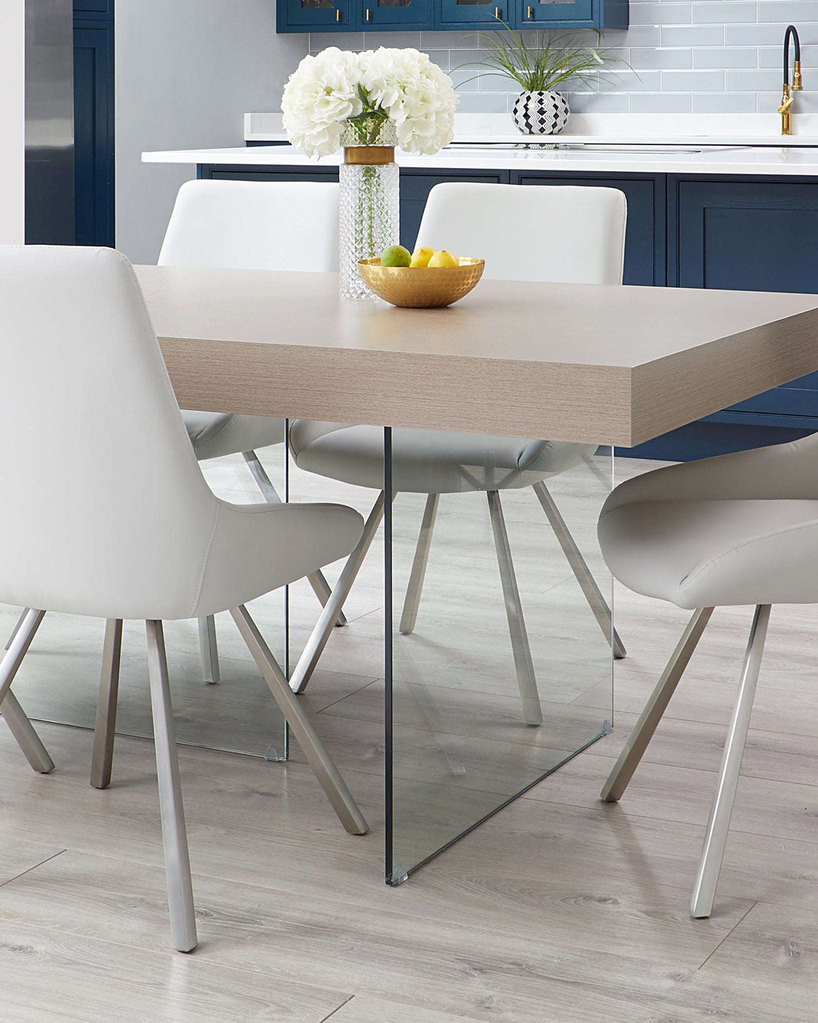 Aria Grey Oak And Glass And Theo Dining Set