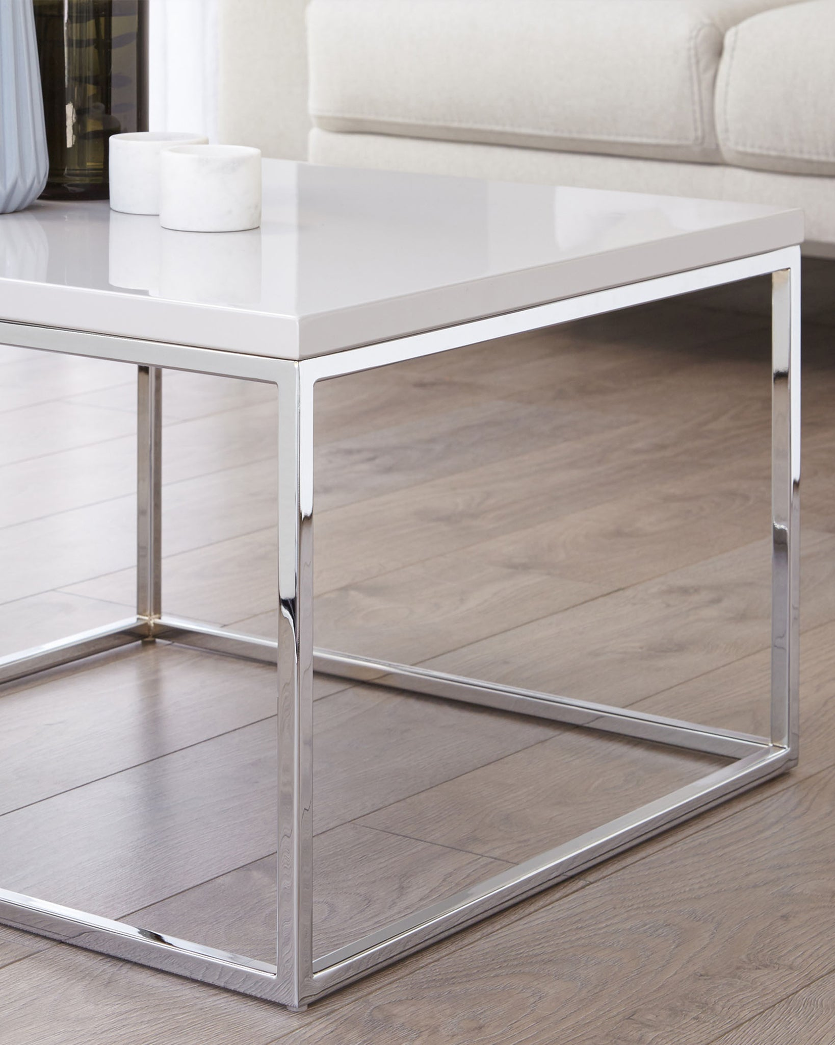 Acute Grey Gloss and Chrome Square Coffee Table