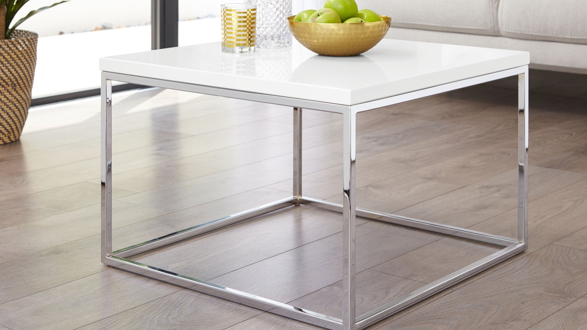 Acute White Gloss And Chrome Square Coffee Table