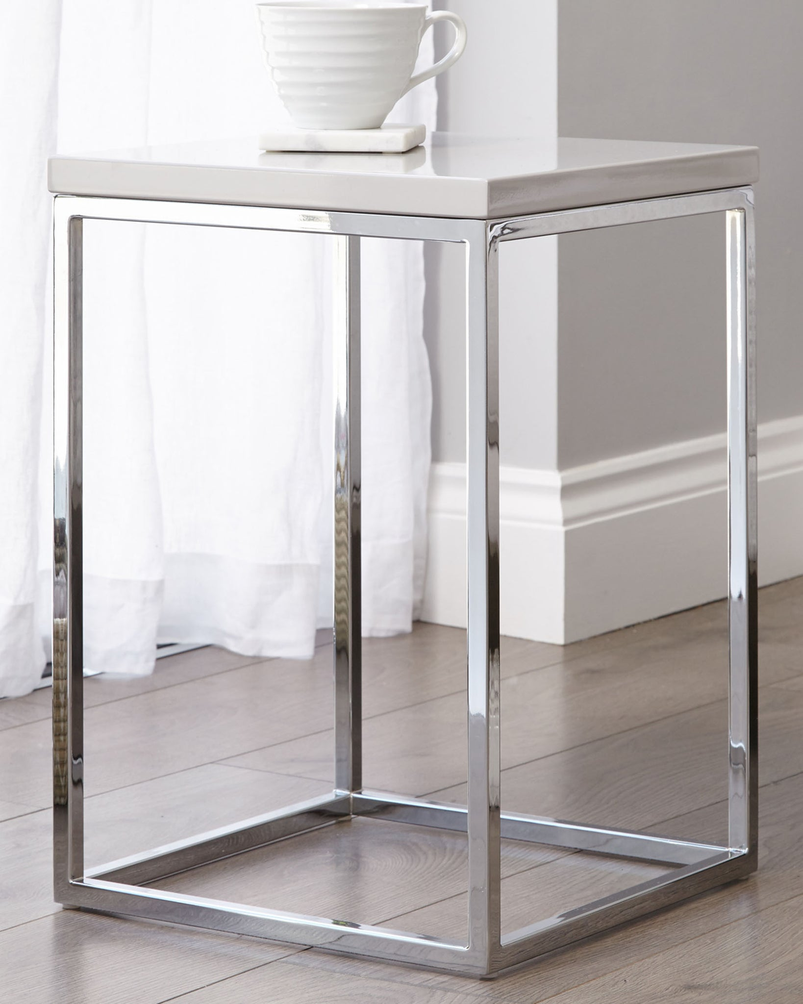 Acute Grey Gloss And Chrome Side Table