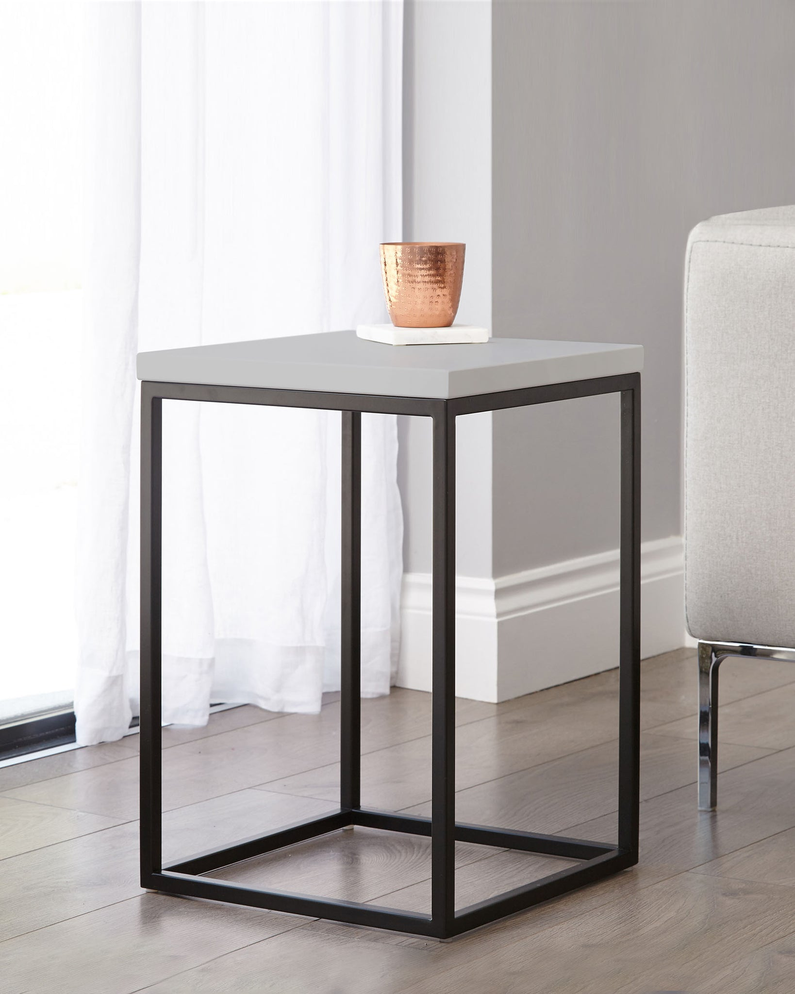Acute Matt Grey And Black Side Table