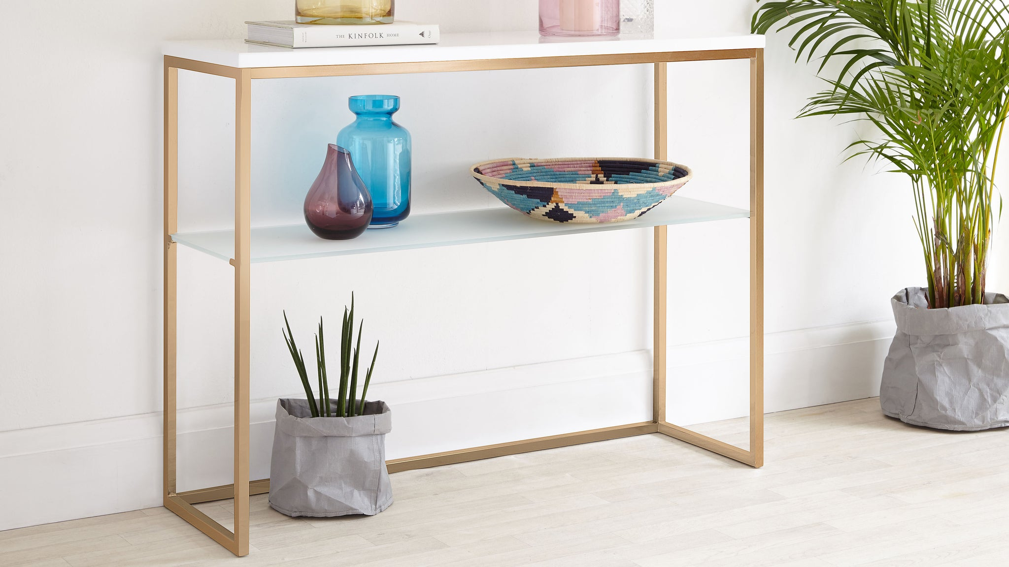 Acute White Gloss And Brass Console Table