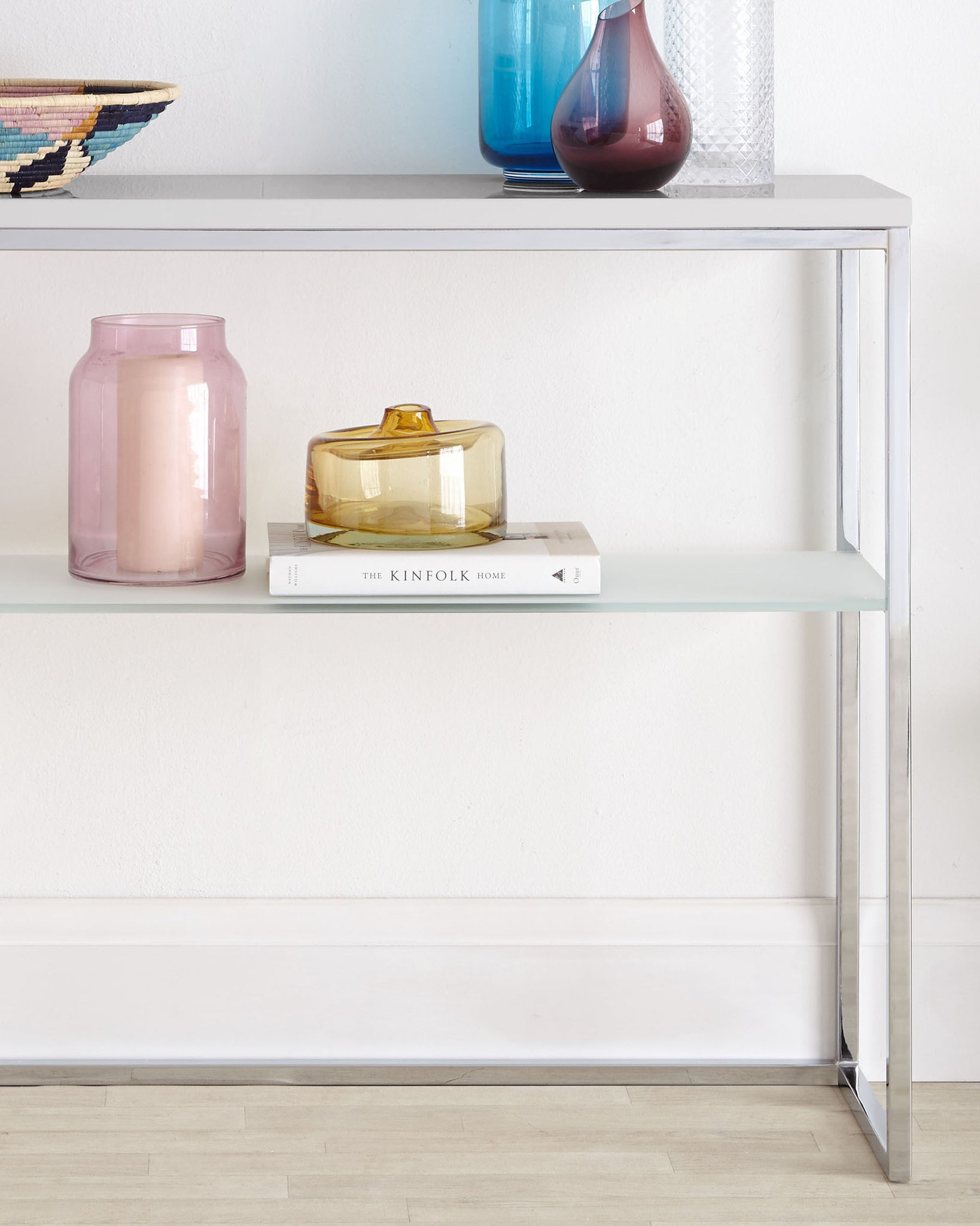 Acute Grey Gloss And Chrome Console Table