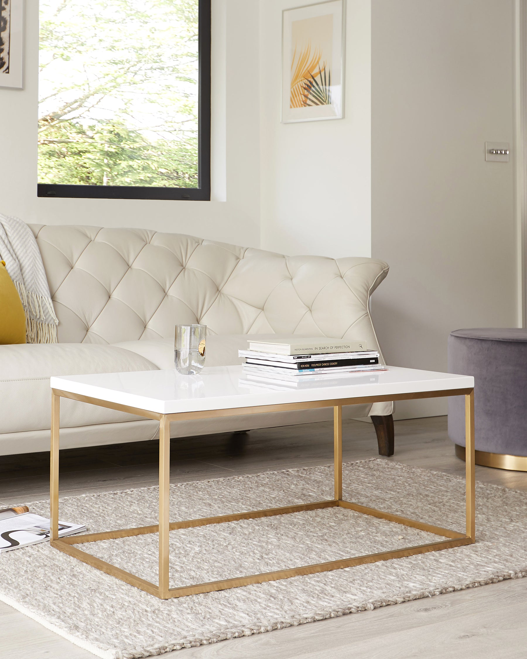 Acute White Gloss Coffee Table With Brass Base Danetti