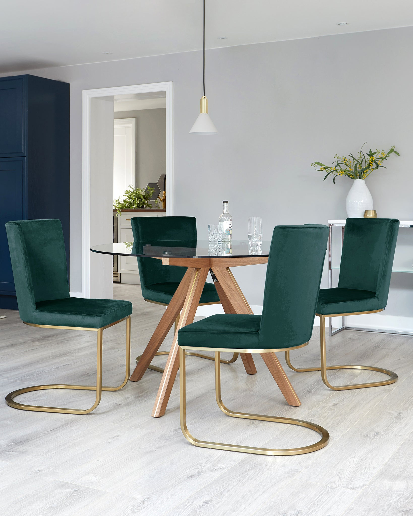 Valencia Glass Table With Form Fern Green Velvet 4 Seater Dining Set