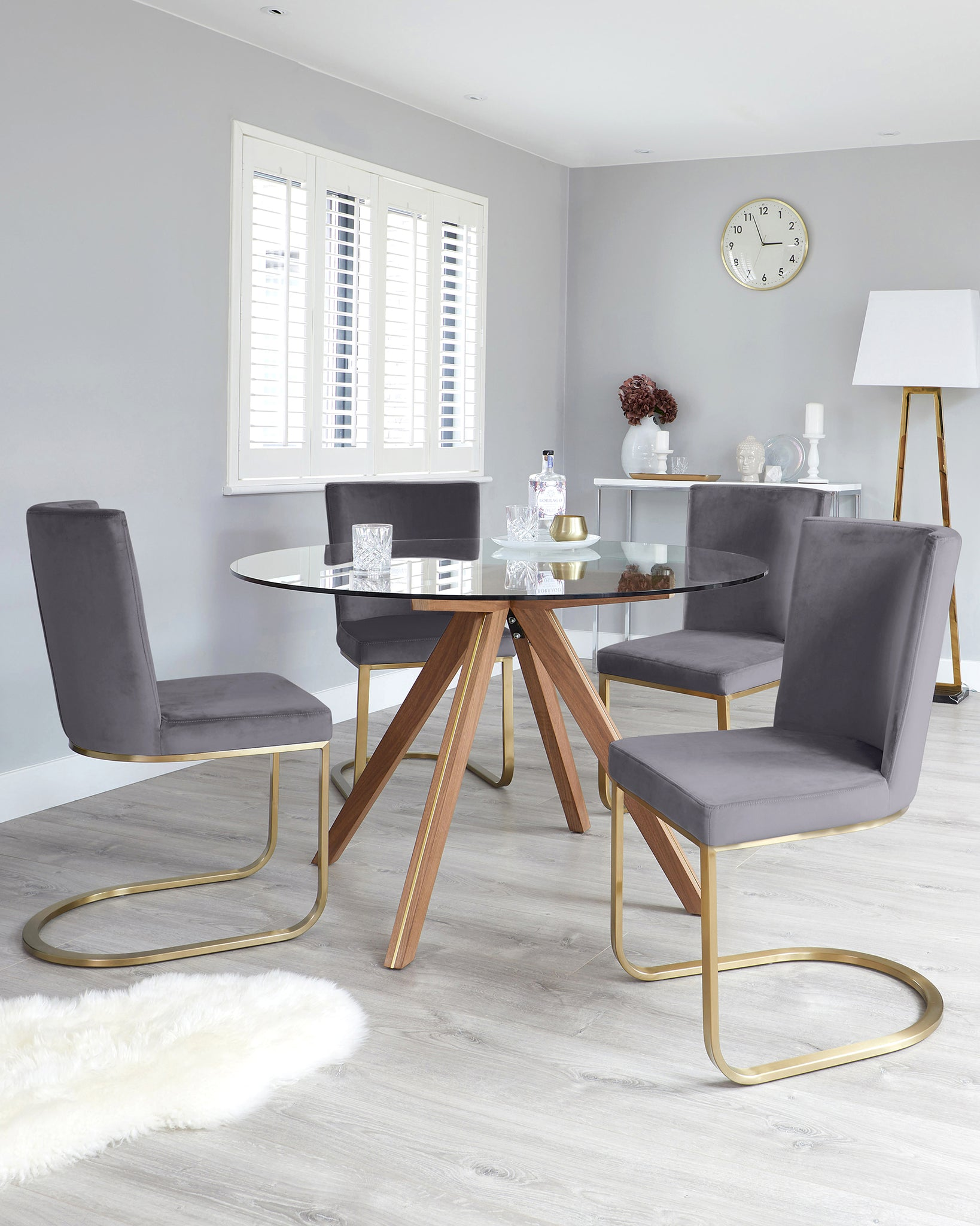 Valencia Round Table With Form Grey Velvet 4 Seater Dining Set