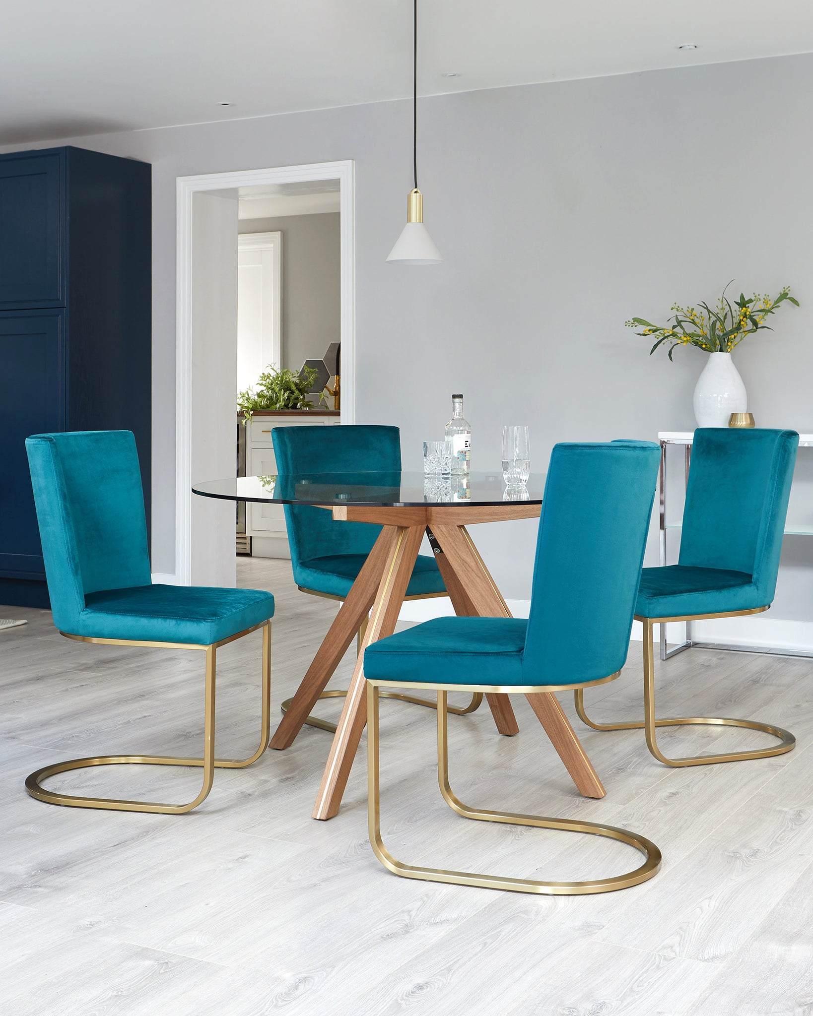 Valencia Clear Glass And Walnut With Form Teal Velvet 4 Seater Dining Set