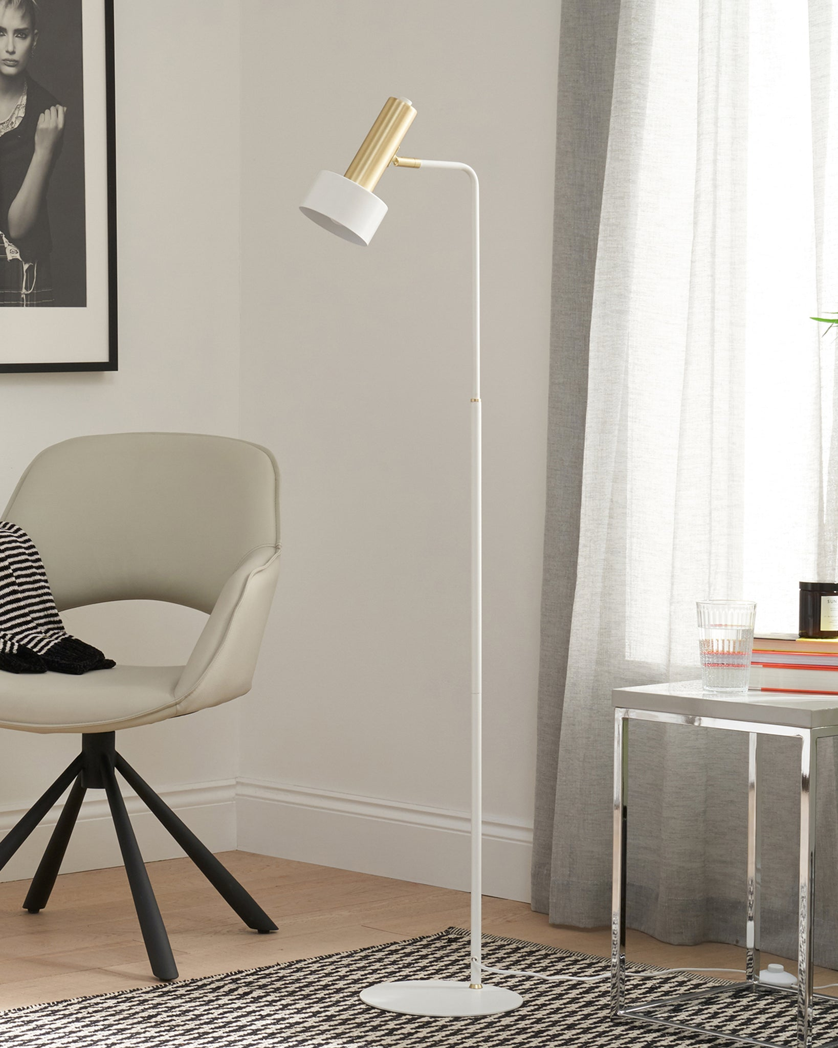Alma White And Brass Floor Lamp