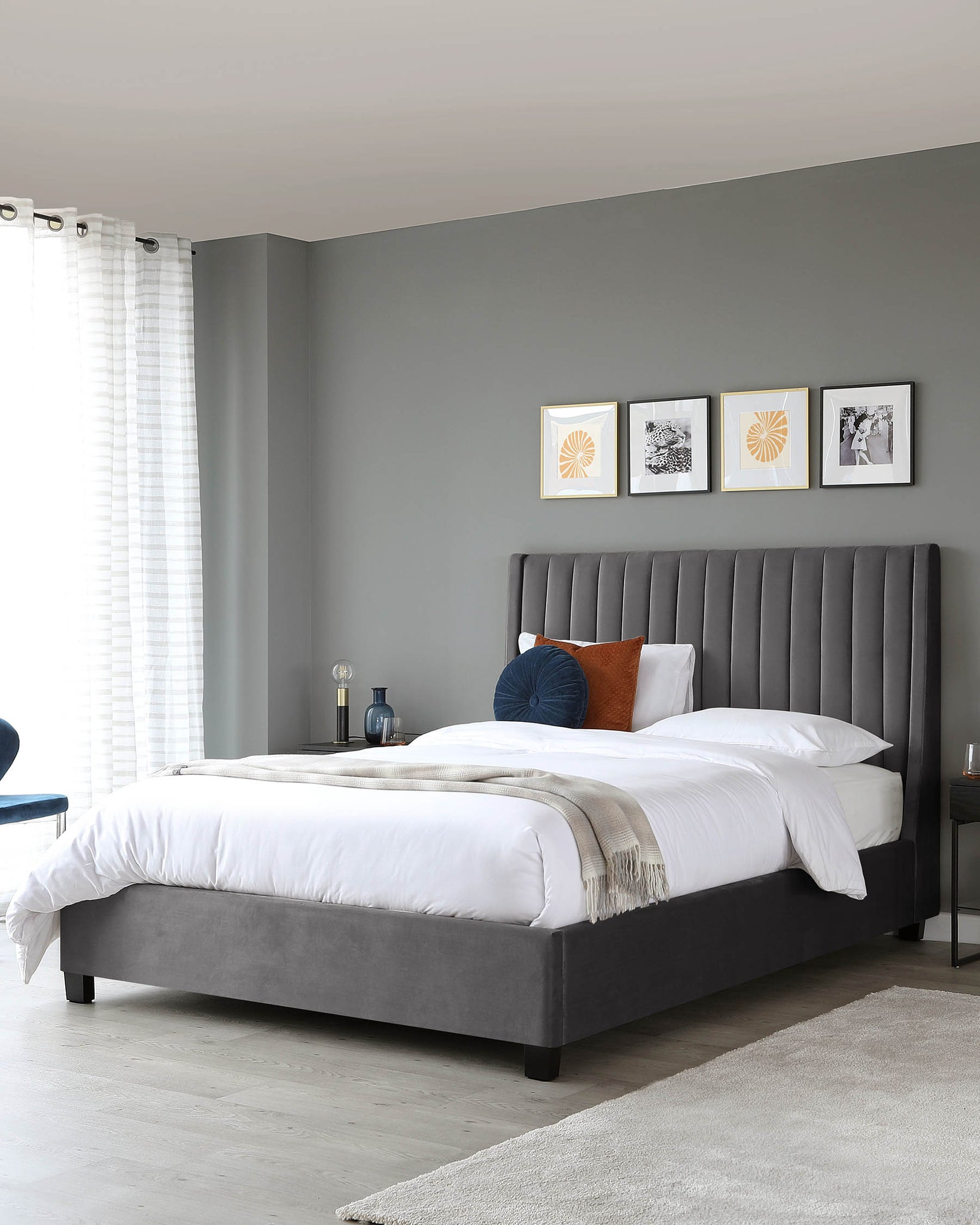 Amalfi Grey Velvet Double Bed With Storage