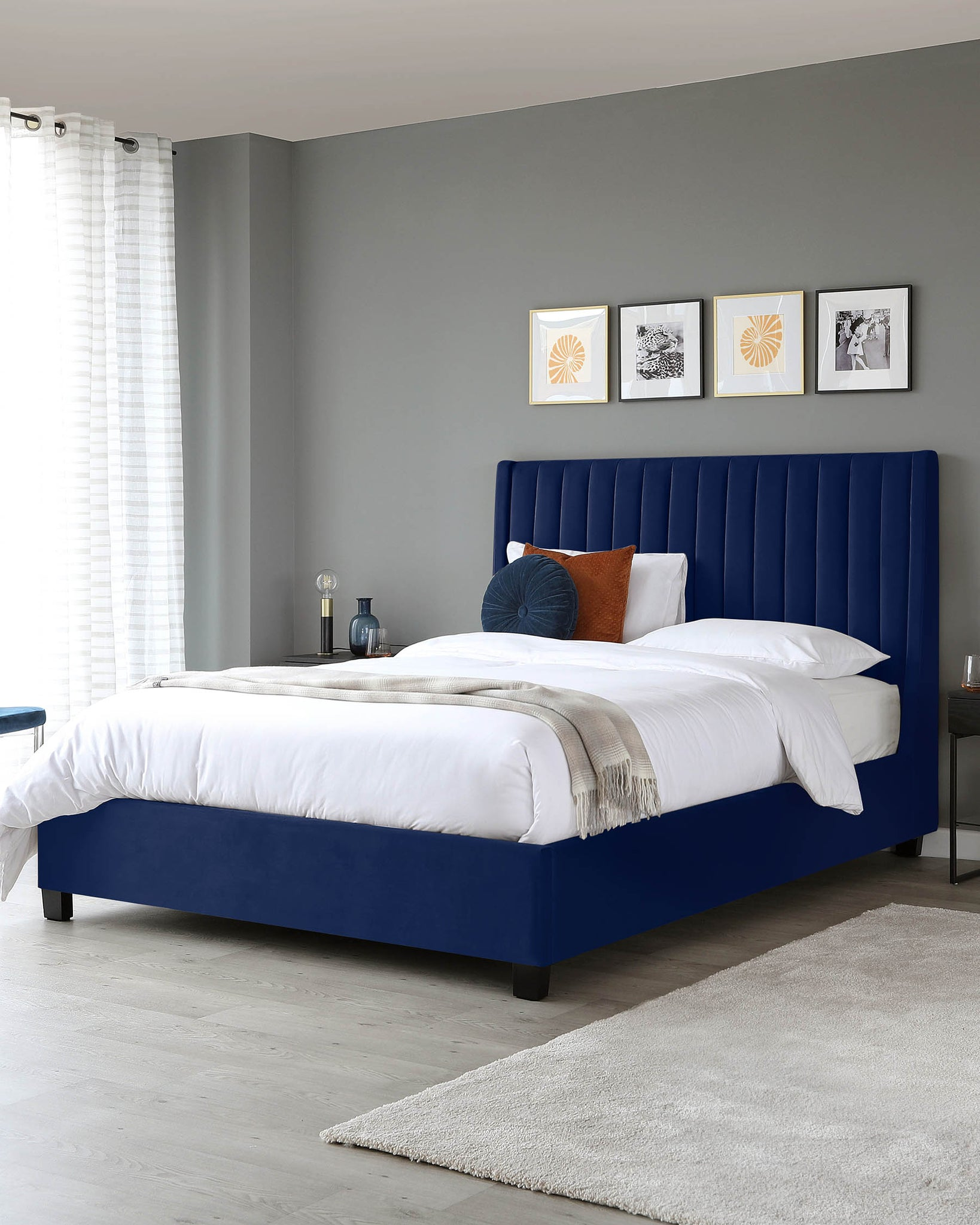 Amalfi Navy Velvet King Size Bed With Storage